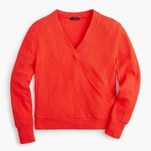 NWT J. Crew | Red Faux Wrap Textured Crepe Top XXS
